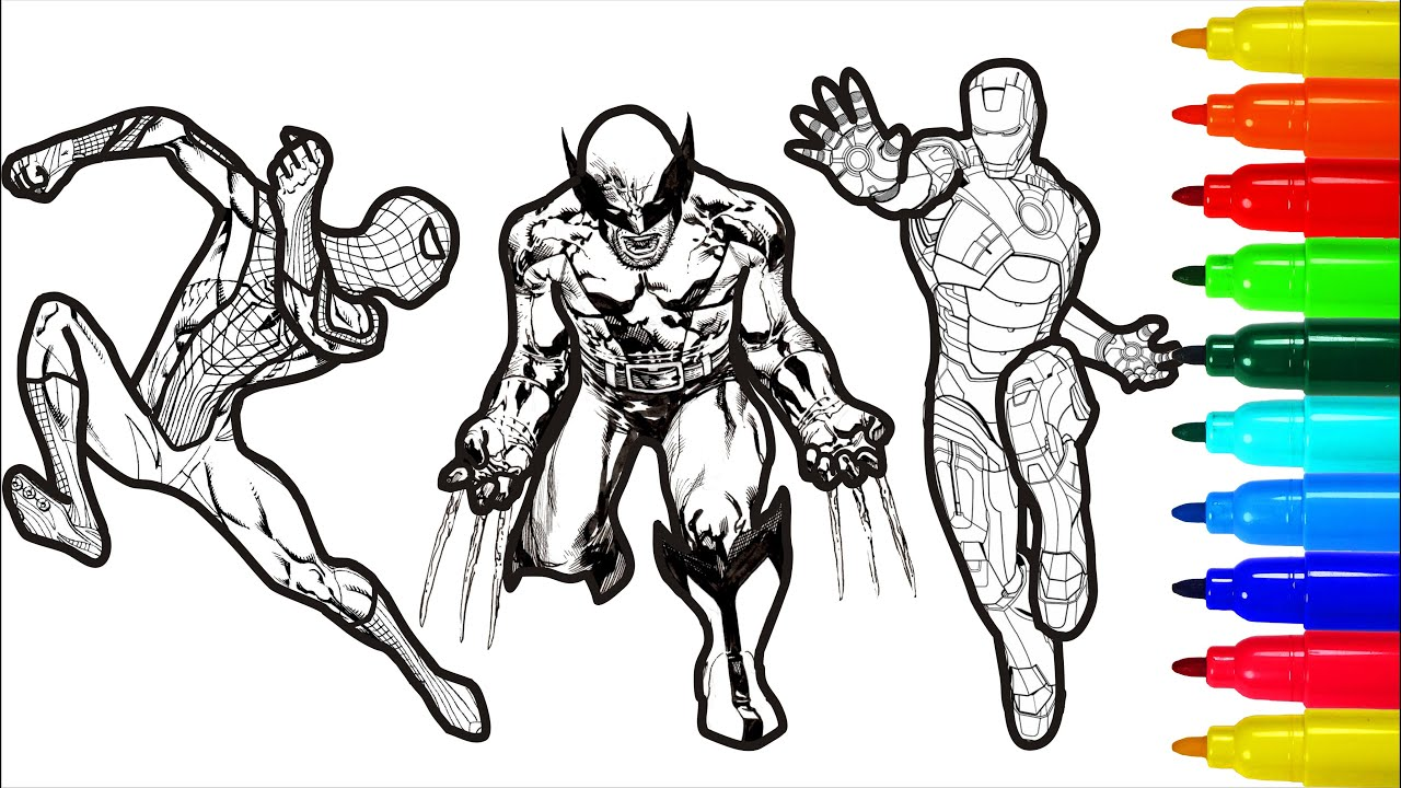 Spiderman Iron Man Hulk Wolverine Captain America Coloring Pages Youtube
