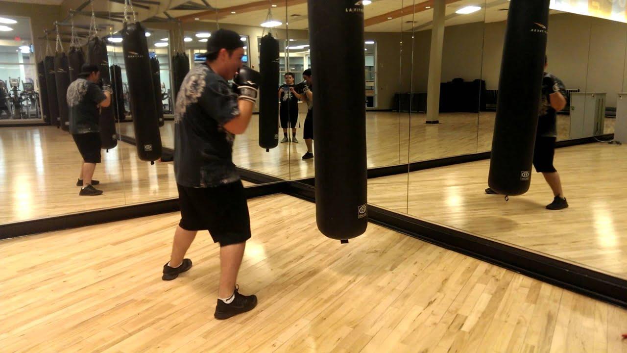 Destroying LA Fitness punching Bag - YouTube