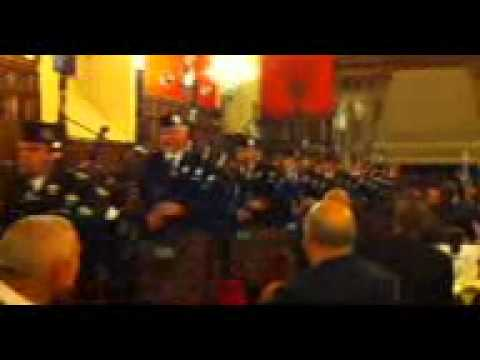 Bagpipe band playing in Edinburgh Castle Great Hall