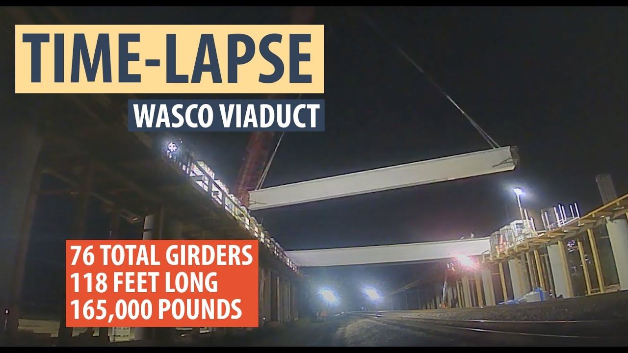 First phase of placing girders at the Wasco Viaduct, which includes 76 girders, each 118 feet long, and 165,000 pounds. This time-lapse shows some of that work.  The second phase will include the placement of 44 girders that will be longer ranging from 118 feet to 136 feet. #BuildHSR