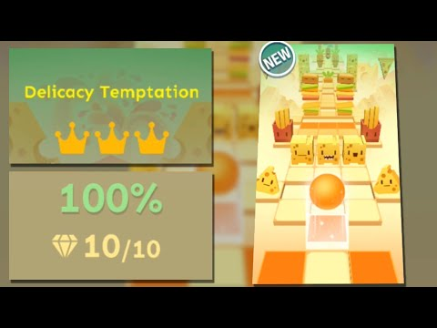Rolling Sky Level 49 Delicacy Temptation 100% Clear - All Gems & Crowns