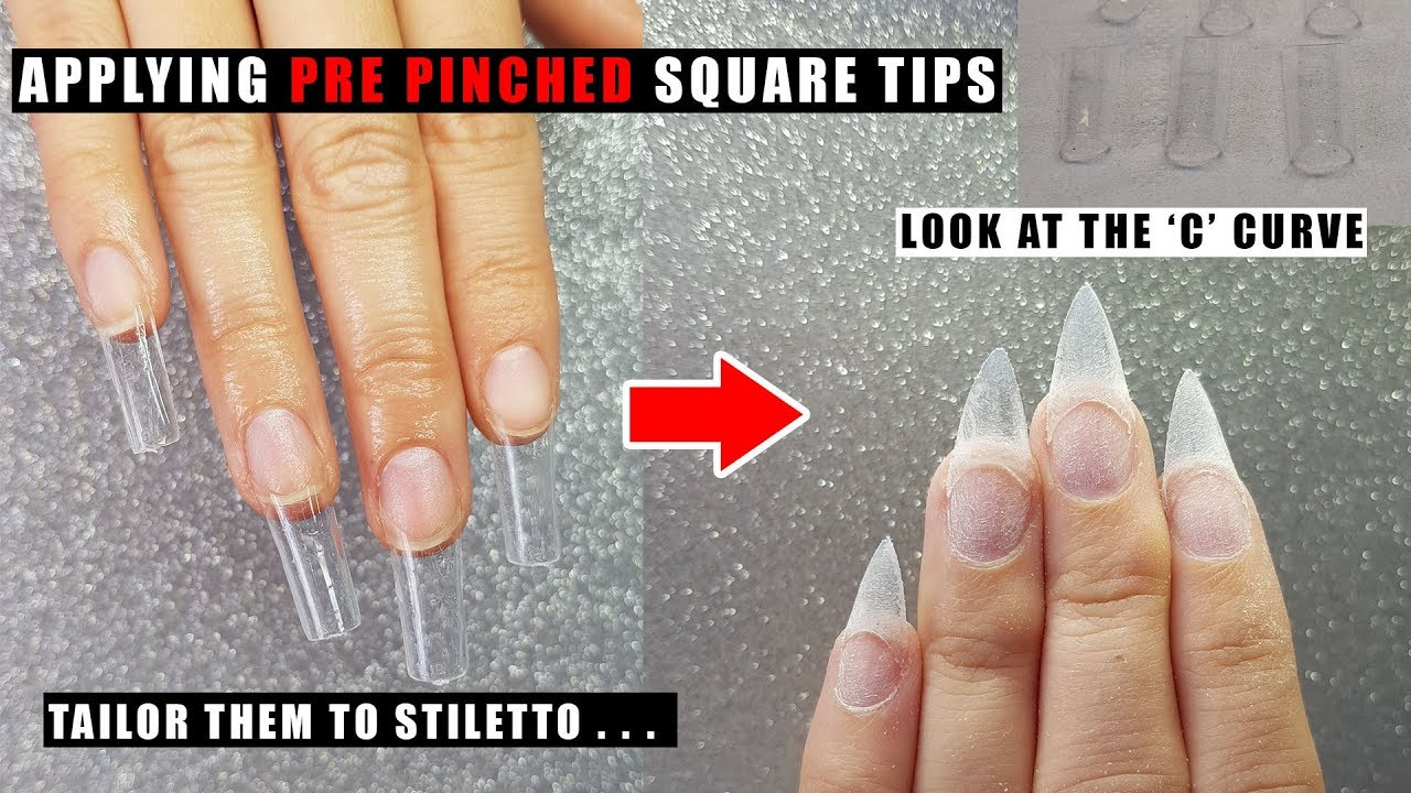 PRE PINCHED SQUARE NAIL TIPS APPLICATION | GLITTER PLANET - YouTube