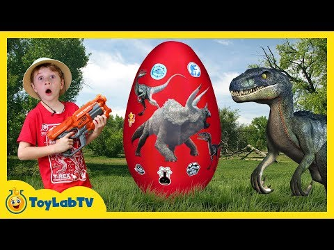 Download Youtube: Giant Raptor Dinosaur Egg with Surprise Toys, Jurassic World Dinosaurs Toy & T-Rex Game for Kids