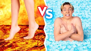 HOT VS COLD FOOD CHALLENGE || Last To STOP Eating Wins! Fire VS Icy For 24 Hours By 123 GO! BOYS