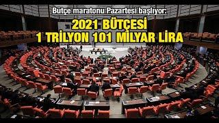 Bütçe maratonu Pazartesi başlıyor: 2021 bütçesi 1 trilyon 101 milyar lira