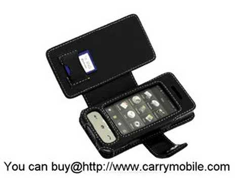 Carrymobile Leather Case for Samsung SPH-M800 Sprint Instinct - Book Type (Black)