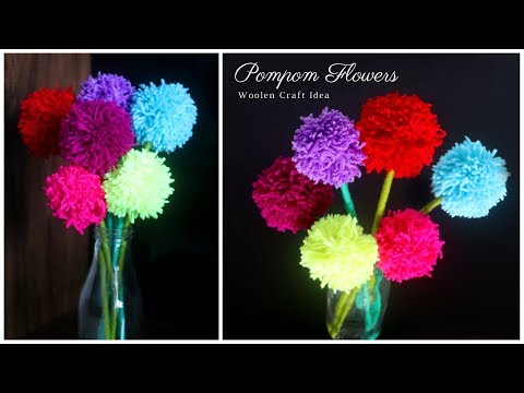 Woolen Craft Idea | Pompom Flowers | DIY Home Decor | Woolen Flowers