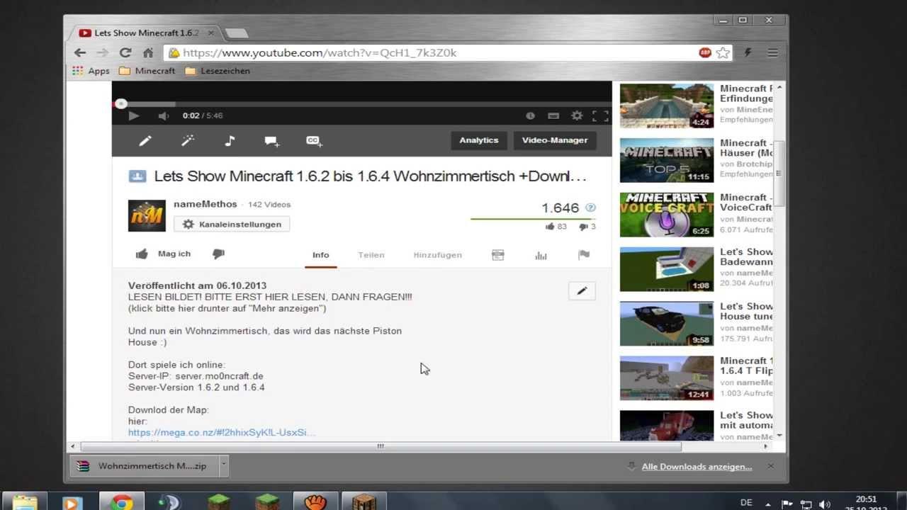 Minecraft Map Einfügen Tutorial YouTube - Minecraft fertige hauser einfugen