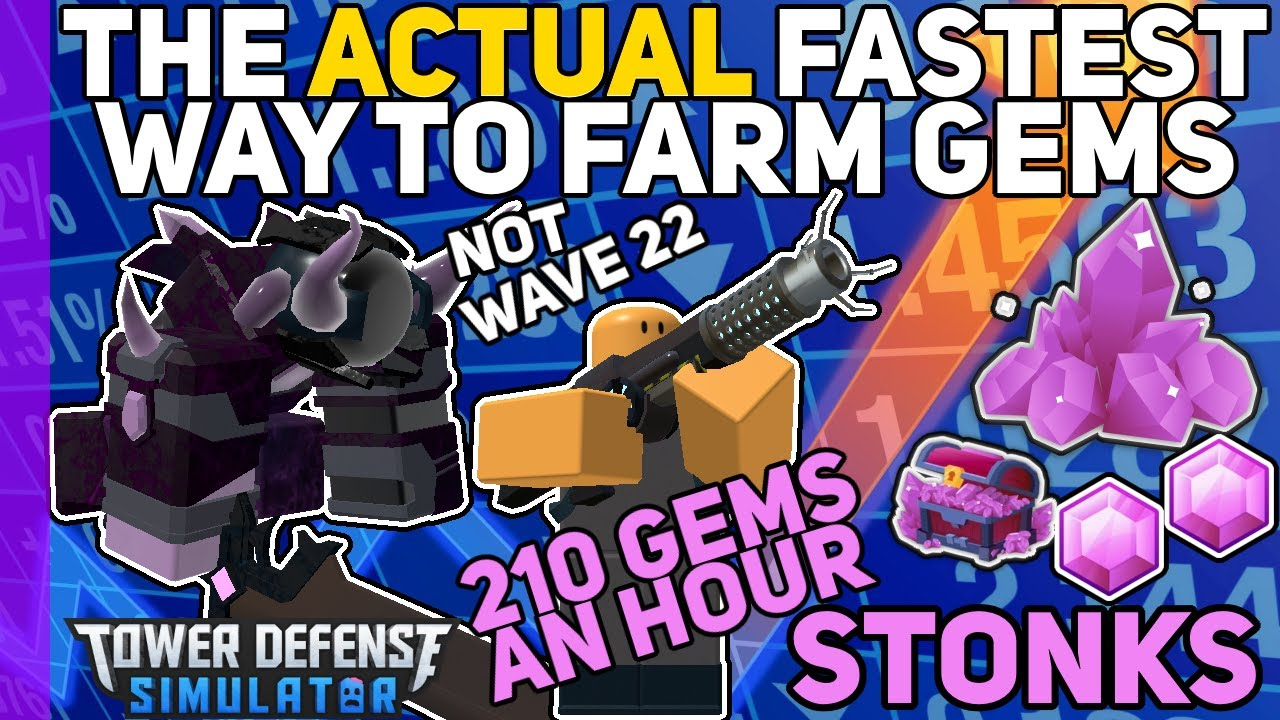 The ACTUAL fastest way to grind Gems - Hardcore Mode - Tower Defense Simulator