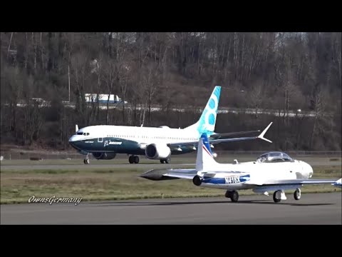 Boeing 737 Max Takes Off w/ Lockheed T-33 on Very Busy Runway @ KBFI Boeing Field
