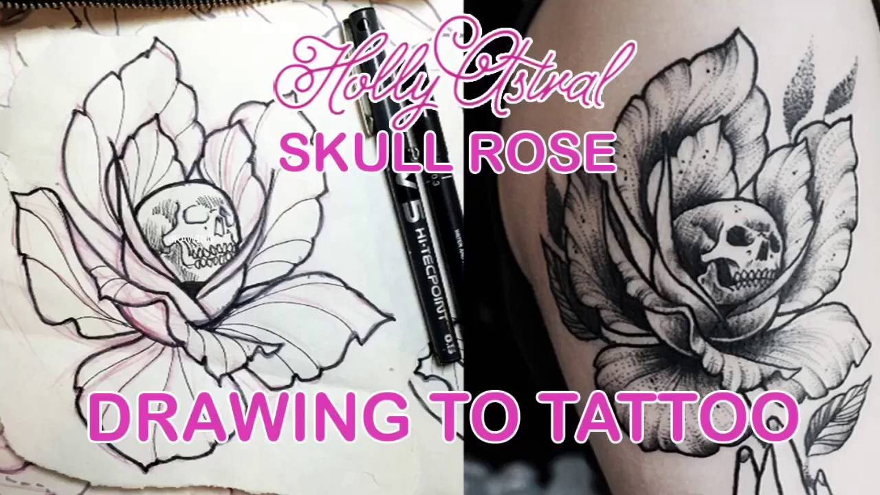 Drawing To Tattoo Skull Rose Youtube
