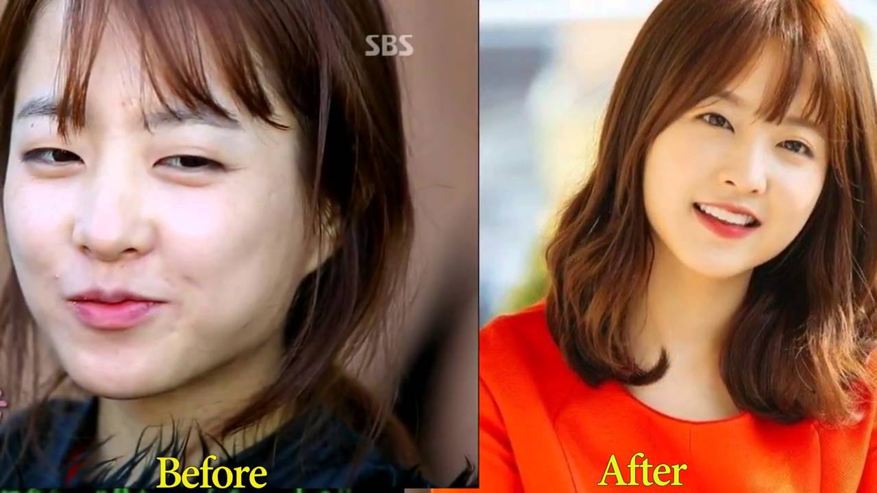 korean star before and after makeup - wavy haircut
