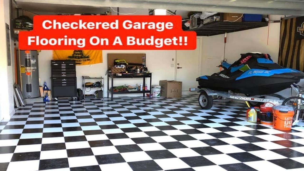 checkered garage flooring on a budget vinyl garage flooring diy armstrong stylistk ii