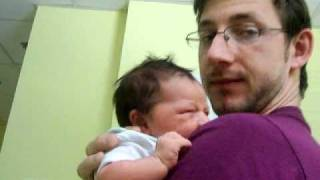Lily crying on Daddy