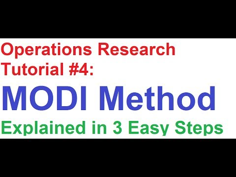 Operations Research(OR) Tutorial #4: MODI Method Explained in 3 Easy Steps!