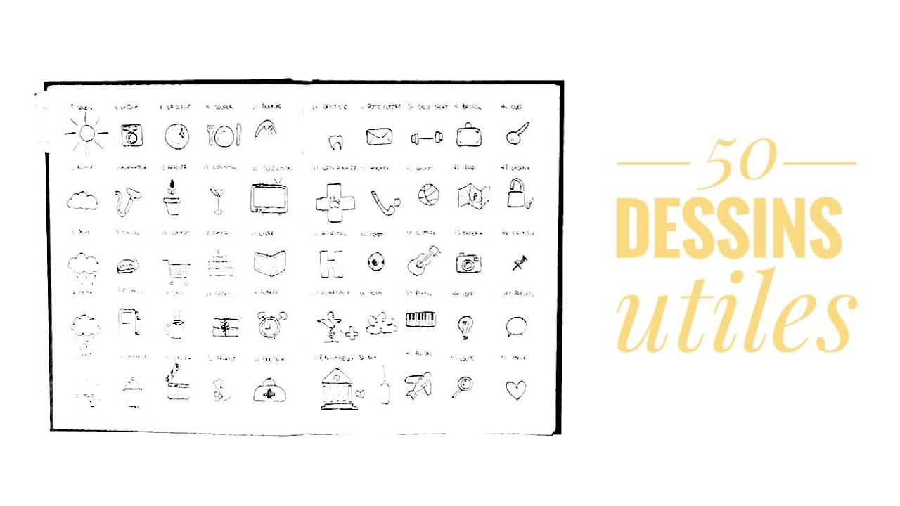 50 dessins faciles 3 dessins utiles bullet journal en fran ais youtube. Black Bedroom Furniture Sets. Home Design Ideas
