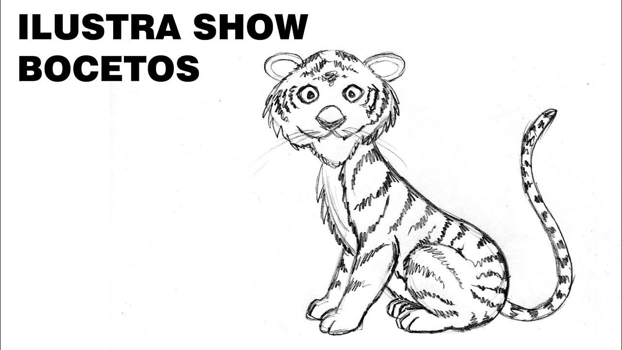 Cómo dibujar un TIGRE SENCILLO F Tutorial ILUSTRA SHOW - YouTube