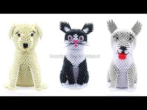 3D Origami Cat & Dog 4K - Origami 3D Gatto & Cane 4K