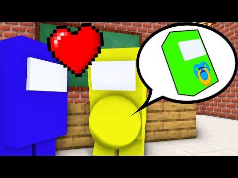 AMONG US BABY BORN CHALLENGE! IMPOSTOR vs REACTOR! Love Story! Monster School - Minecraft Animation