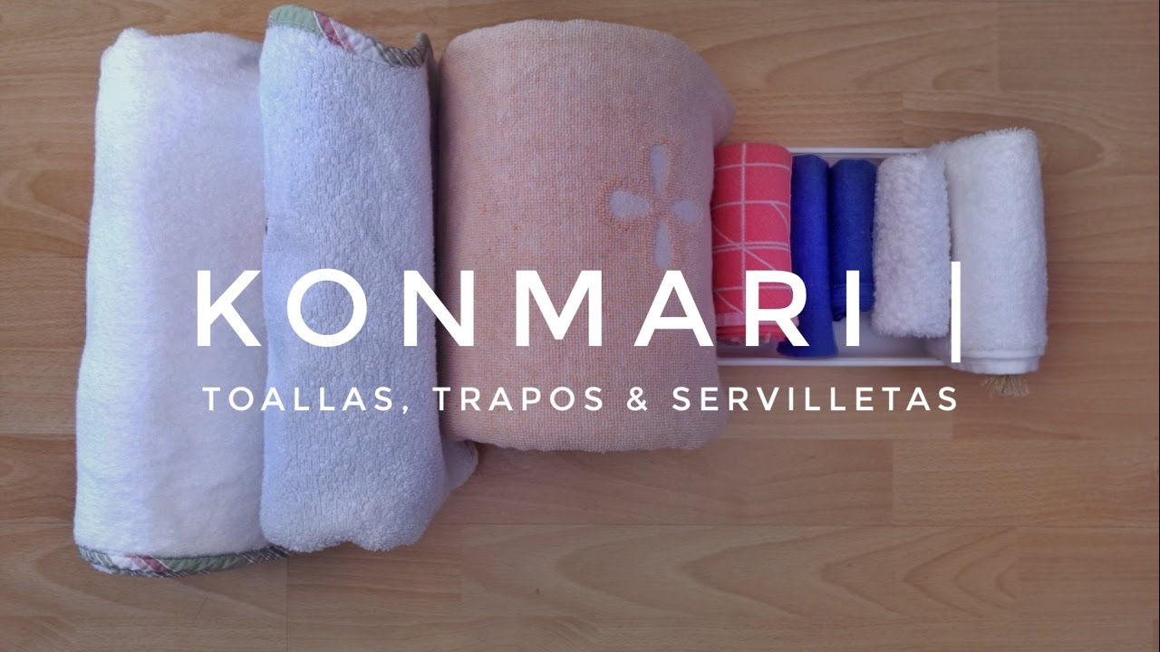 c mo doblar toallas trapos servilletas m todo konmari por marie kondo youtube. Black Bedroom Furniture Sets. Home Design Ideas