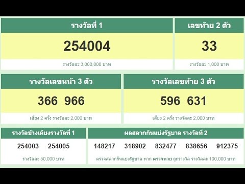 ตรวจหวย ง่ายๆ 16/8/59 lotery  thailand  ทุกรางวัล