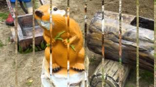 Садовая фигура Бобер на пне с Зайцем фигуры животных купить для квартиры ландшафта сада дачи дома