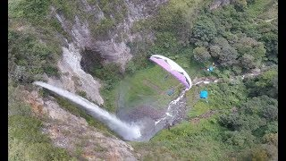 FLIGHT OVER the Sipiso-Piso WATERFALL! The first in the world! Sumatra island, INDONESIA.