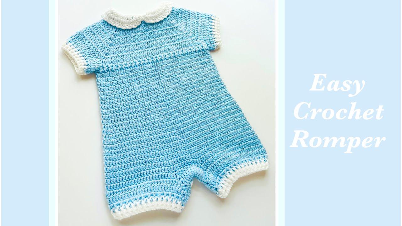 Easy crochet romper for boys and girls (En Español también) crochet baby overalls Crochet For Baby
