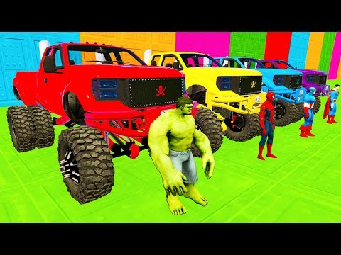 Thumbnail: LEARN COLOR Monster Truck McQueen RACE w/ Superheroes Cartoon Nursery Rhymes for Children