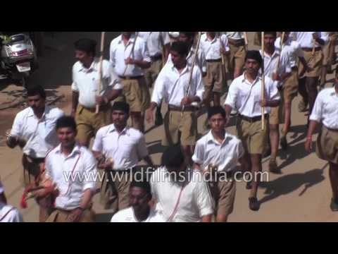 RSS (Rashtriya Swayamsevak Sangh) of India wears trademark brown shorts