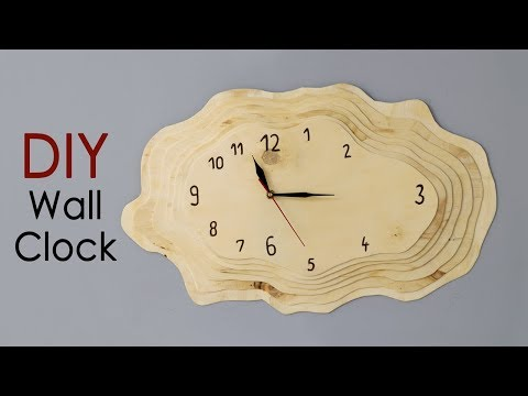 DIY Layered Plywood Wall Clock with a Tree Ring Shape