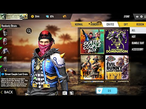 Skater Couple Box In Free Fire Store New Street Couple Loot Crate Youtube