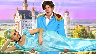CINDERELLA SAVED FROM LADY TREMAINE AND STEPSISTERS BY PRINCE CHARMING. Totally TV parody