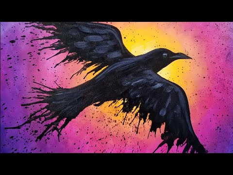 Easy Raven Acrylic Painting Tutorial for Beginners LIVE