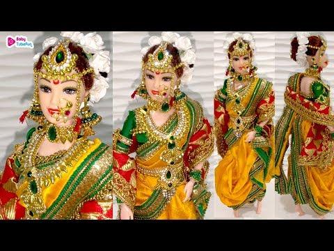 Barbie Doll MARATHI Saree Making, How To Make Maharashtrian Bridal Doll, गुड़िया सजाने का आसान तरीका