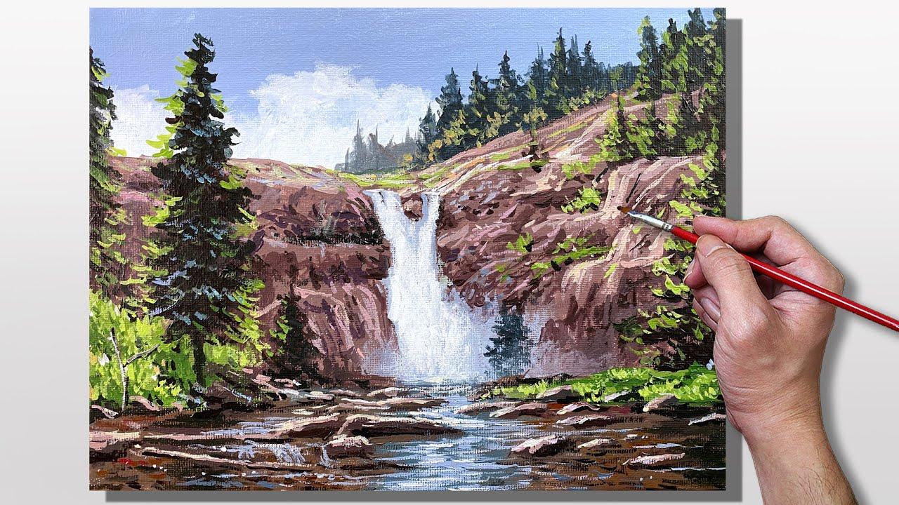 Acrylic Painting Waterfalls Reflection Landscape