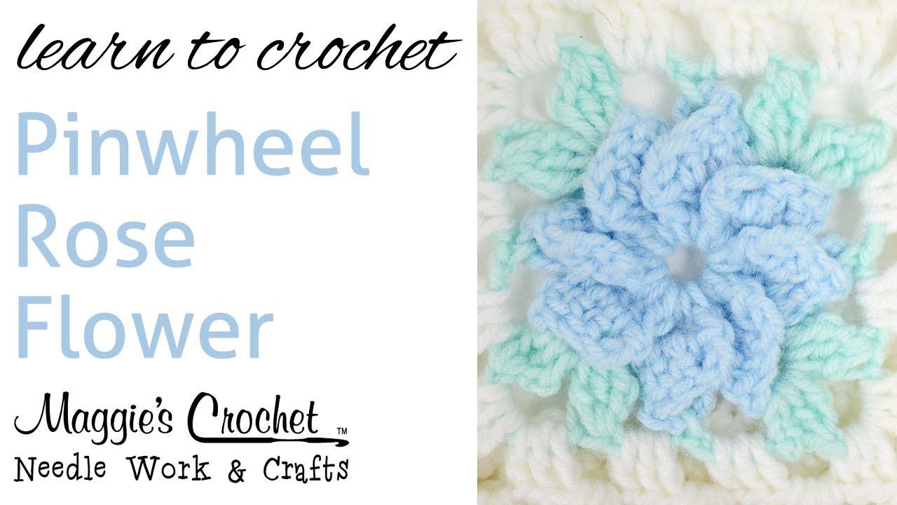 010 Crochet Pinwheel Rose Flower Right Hand Youtube