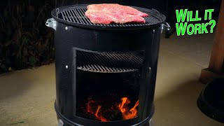 Convert Weber Smokey Mountain into Santa Maria grill to burn wood logs  tri-tip over real wood fire