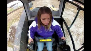 Beautiful Girl learning how to operate JCB 320T ECO Skid Loader!
