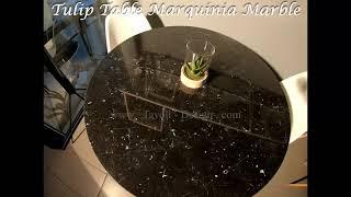 Video: 180 x 90 cm Tulip tafel Zwart Marquinia marmer ovaal