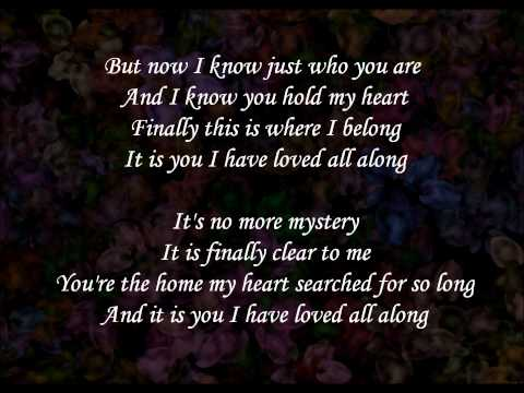 It is you I have loved  Dana Glover lyrics