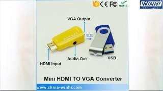 WINHI WH-CN209HV: Mini HDMI TO VGA Converter, with 3.5mm audio out