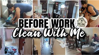 CLEAN WITH ME | CLEANING BEFORE WORK | WORKING MOM CLEANING MOTIVATION // Kitchen, Bathroom & More