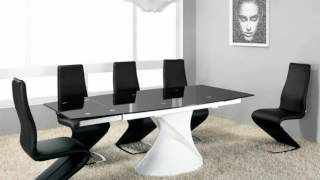 Designer Glass And Gloss And Marble Dining Table And Chairs