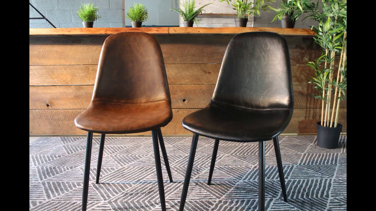 Milan Eames Style Brown Vintage Leather Dining Chair With Black Metal Legs