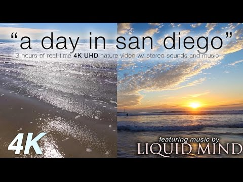 """3 HR BEACHES in 4K + Music: """"A Day in San Diego"""" ft Liquid Mind Nature Relaxation Video"""