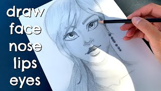 How to draw girl face, nose, eyes, lips / Draw Long Hair
