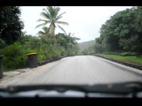 Driving into the settlement on Christmas island