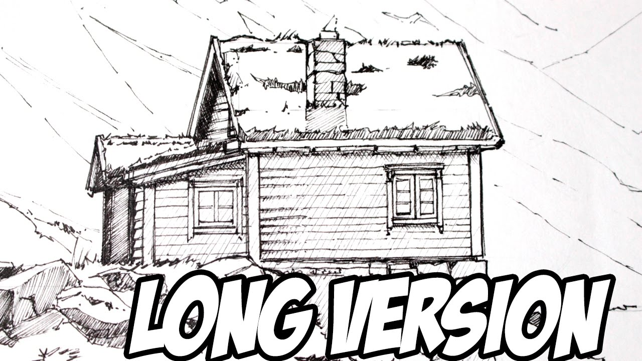 Line Drawing Vs Value Drawing : How to draw cabin landscape line art extended version