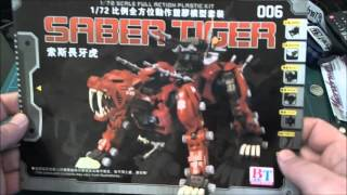 Unboxing of a model kit by Black Knight the Zoids Saber Tiger.